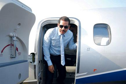 Vadra getting out of airplane